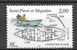 Timbre Neuf** St Pierre Et Miquelon , N °645 Yt , Le Doris, Embarcation Et Plan De Construction, Bâteau - St.Pierre Et Miquelon