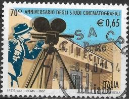 ITALY 2007 70th Anniv Of Cinecitta Film Studios, Rome - 65c Director, Camera And Building Facade FU - 6. 1946-.. Repubblica