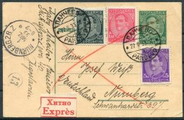 1933 Yugoslavia Pancevo Uprated Stationery Postcard Express - Nurnberg Germany - 1931-1941 Kingdom Of Yugoslavia