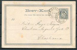 1883 Norway 5ore Stationery Postcard. Vestbanern. Railway TPO - Briefe U. Dokumente