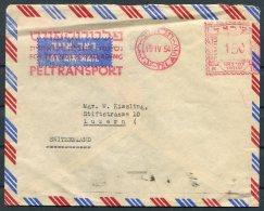 1954 Israel Tel Aviv Peltransport Franking Machine Airmail Cover - Luzern Switzerland. - Israel