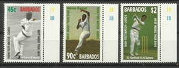 BARBADOS  2000 WEST INDIES CRICKET TOUR 100th TEST MATCH  SET MNH - Barbados (1966-...)