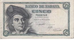 BILLETE DE ESPAÑA DE 5 PTAS DEL 1948 SERIE C CALIDAD MBC (VF) (BANKNOTE) - 5 Pesetas