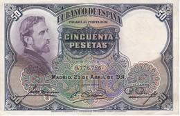 BILLETE DE 50 PTAS DEL AÑO 1931 DE  E. ROSALES SIN SERIE CALIDAD MBC (VF)  (BANKNOTE) - [ 1] …-1931 : Eerste Biljeten (Banco De España)