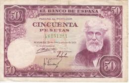 BILLETE DE ESPAÑA DE 50 PTAS DEL 31/12/1951 SERIE A  (BANKNOTE) - [ 3] 1936-1975 : Régence De Franco