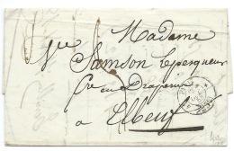 MP PARIS 4° 25c 1853  POUR ELBEUF - 1849-1876: Période Classique