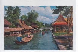 VIEW OF KLONG, CANAL, IN DHONBURI, BANGKOK, THAILAND, THAI SLIPA. CIRCULEE TO URUGUAY. CIRCA 1976.- BLEUP - Thailand