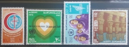 E11e24 - Egypt 1972 SG 1182-1185 Cplte Set 4v. MLH United Nations Day, Tuberculosis, Palestine Refugees, Flooded Temple - Egypt