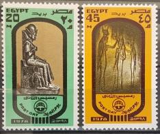 E11e24 - Egypt 1977 SG 1338-1339 Cplte Set 2v. MNH - Post Day, Statue Of Rameses II & Queen Nefertari - Egypt