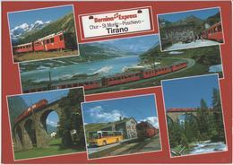 Bernina-Express Der Rhätischen Bahn Chur-St. Moritz-Poschiavo, Postauto - Photo: R. Canal - GR Grisons