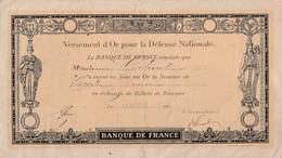 Versement D'or Pour La Défense Nationale / 30 Francs - 1914-18