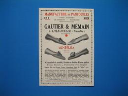 (1936) Manufacture De Pantoufles GAUTIER & MÉMAIN à L'ILE-D'ELLE (Vendée) - Vieux Papiers