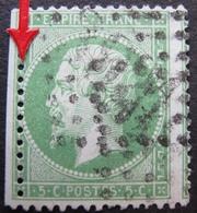 R1749/261 - NAPOLEON III N°20 BdF - GC 3921 : LES TERNES (Seine / Paris) PIQUAGE DECALE - 1862 Napoleon III