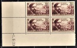 FRANCE 1939 - BLOC DE 4 TP NEUF** Y.T. N° 437 - COIN DE FEUILLE / DATE - Coins Datés