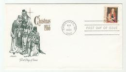 1966 'CHRISTMAS Mi' USA FDC Christmas Stamps Cover Religion - Christmas
