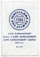 DOCUMENT COMMERCIAL DISTILLERIE JANE BARBANCOURT Rhum-Liqueur HAITI  W.I. ANNEE 1979 330 - Factures & Documents Commerciaux