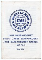 DOCUMENT COMMERCIAL DISTILLERIE JANE BARBANCOURT Rhum-Liqueur HAITI  W.I. ANNEE 1979 330 - Invoices & Commercial Documents