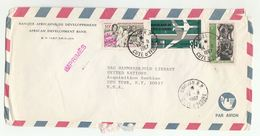 1967 IVORY COAST BANK To UN NY USA African Develpment Bank ABIDJAN To UNITED NATIONS COVER Stamp Sculpture Cote D'ivoire - Ivory Coast (1960-...)