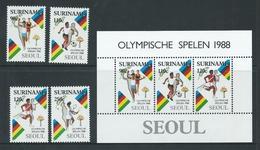 Surinam 1988 Seoul Olympic Games Set Of 4 & Miniature Sheet MNH - Surinam