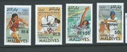 Maldives 1985 Los Angeles Olympic Games Medallist Overprint Set 4 MNH - Maldives (1965-...)