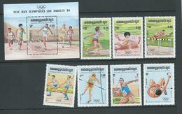 Cambodia Kampuchea 1984 Los Angeles Olympic Games Set Of 7 & Miniature Sheet MNH - Maldives (1965-...)