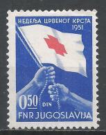 Yugoslavia 1951. Scott #RA9 (M) Hands Raising Red Cross Flag * - Bienfaisance