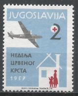 Yugoslavia 1957. Scott #RA17 (M) Plane Over Temporary Shelter * - Bienfaisance