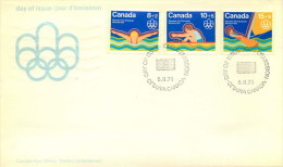 1975  Montreal Olympic Games  Water Sports  Swimming, Rowing, Sailing  Sc B4-6  On Single FDC - Omslagen Van De Eerste Dagen (FDC)