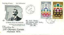 1973  Montreal Olympic Games Symbol Sc 623-4 RoseCraft Cachet  Calgary AB Datestamp Cancel - Omslagen Van De Eerste Dagen (FDC)