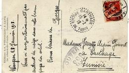 1918- C P A  Affr.10 C De Suisse Pour CARTHAGE ( Tunisie ) Avec Censure 896 - Marcophilie (Lettres)