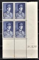 FRANCE 1941 - BLOC DE 4 TP  Y.T. N° 473 - COIN DE FEUILLE / DATE / NEUFS** - 1940-1949