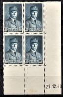 FRANCE 1941 - BLOC DE 4 TP  Y.T. N° 471 - COIN DE FEUILLE / DATE / NEUFS** - 1940-1949