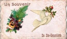 SAINTE GENEVIEVE UN SOUVENIR AVEC DECOUPIS OIDEAU ET FLEUR CARTE CISELEE - Sainte-Geneviève