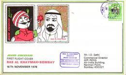 Enveloppe 1er Vol Air India Ras Al Khaymah Bombay 16/11/1978 B707 - Avions