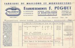 AC   B3361 - Factures / Documents Commerciaux  F. Péguet La Roche Sur Foron (74)   ( Précisions Sté, état... Voir Scan) - France