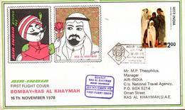 Enveloppe 1er Vol Air India Bombay Ras Al Khaymah 16/11/1978 B707 - Avions