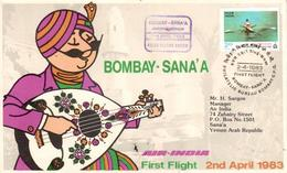 Enveloppe 1er Vol Air India Bombay Sanaa 02/04/1983 - Avions