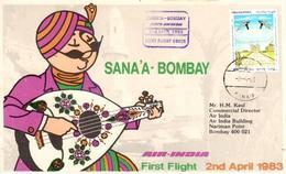 Enveloppe 1er Vol Air India Sanaa Bombay 02/04/1983 - Avions