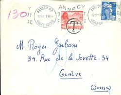 France15--enveloppe De France à Destination De Genève, Taxée à L 'arrivée - Storia Postale