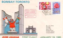 Enveloppe 1er Vol Air India Bombay Toronto 19/01/1985 - Avions