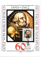 """BRD Maximumkarte """"500.Geburtstag Von Götz Von Berlichingen"""" Mi-Nr. 1036 ESSt. 10.1.1980 BONN 1 - Cartas Máxima"""