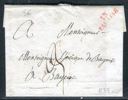 Lettre Sans Texte De Falaise Pour Bayeux , Mp 13 Falaise En Rouge - Marcofilia (sobres)
