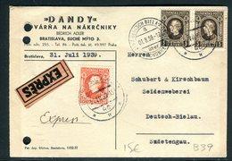 Slovaquie - Enveloppe Commerciale En Exprès De Bratislava Pour L 'Allemagne En 1939 - Slovaquie