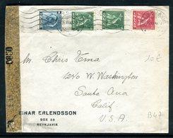 Islande - Enveloppe De Reykjavik Pour Les Etats Unis En 1943 Avec Contrôle Postal - 1918-1944 Administration Autonome