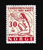 Norvège1953OLutte Cancer - Nu FémininY&T344 - Gebraucht