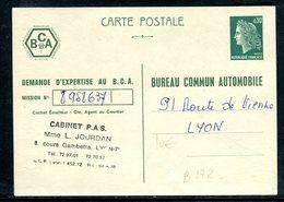 Entier Postal Type Cheffer , Repiquage Bureau Commun Automobile - Cartes Postales Types Et TSC (avant 1995)