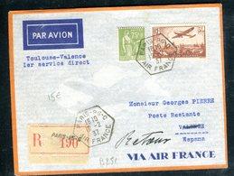 Enveloppe En Recommandé De Paris Pour L 'Espagne En 1937 Par 1 Er Vol Toulouse / Valence - Marcophilie (Lettres)
