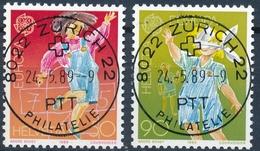775-776 / 1391-1392 Mit Vollstempel ZÜRICH 22 PHILATELIE 24.05.1989 - Schweiz