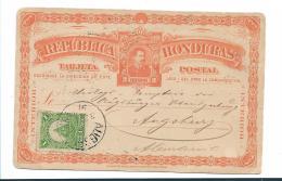 Hon039 / Inland Ganzsache Mit Ausatzmarke Aufgewertet 1891 Nach Augsburg - Honduras