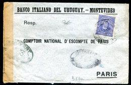 Uruguay - Enveloppe Commerciale Pour Paris En 1917 Avec Contrôle Postal - Uruguay